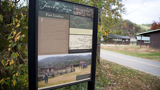 An informational sign describing Fort Lindsay and its role in the Trail of Tears is at the entrance of the now Almond Boat Dock in Swain County. Fort Lindsay, the northernmost military post to carry out the Cherokee Removal, stood at this location on the North Carolina section of the Trail of Tears, which is now mapped all the way to Oklahoma.