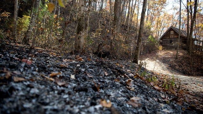 A home on Wilkes Road in Swain County is surrounded by burnt vegetation and earth Tuesday afternoon. To battle the Tellico fire and protect structures like this home, crews utilized controlled burns around the homes, according to the Forest Service.