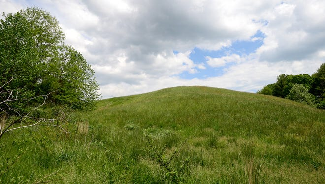 A former BASF Corp. landfill is now a large hill off of Sand Hill Road in Enka after being capped off. Enka Partners has raised about $5 million in public and private funds to build baseball and softball fields on land including the site