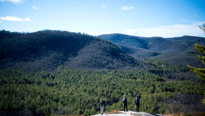 """A scenic overlook along a trail through Panthertown Valley, a biologically diverse area with waterfalls and granite cliffs known as the """"Yosemite of the East."""""""