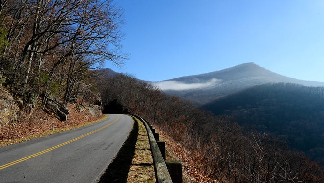 The view looking north on a closed section of the Blue Ridge Parkway around Milepost 375 on Dec. 20.