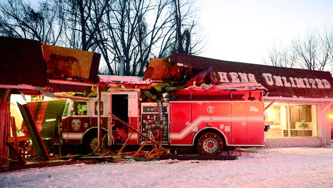 A Station 6 firetruck crashed into Kitchen Unlimited on New Leicester Highway on Saturday evening after hitting a patch of ice and losing control. One firefighter was transported to Mission Hospital with minor injuries and no one else was injured.