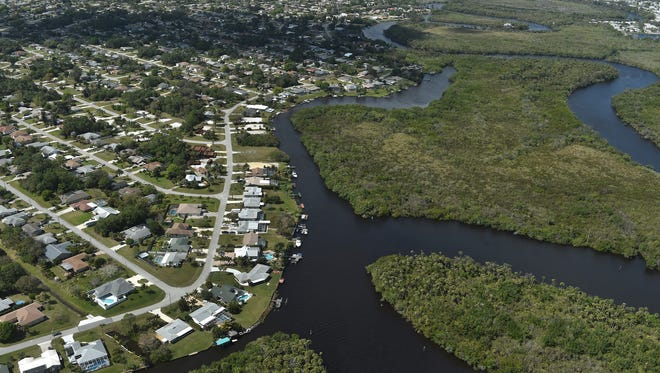 Southeast West Virginia Drive, Crosstown Parkway Bridge, North Fork of the St. Lucie River, Port St. Lucie, State Preserve, Aerial, Village Green Drive, Southeast Coral Reef Street.