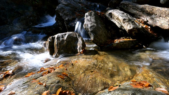 Fallen leaves gets stuck among the rocks of the lower