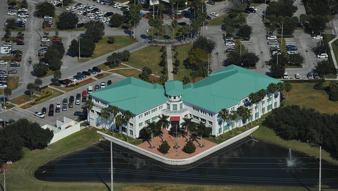 An aerial of Port St. Lucie City Hall at Port St. Lucie and AIroso boulevards.