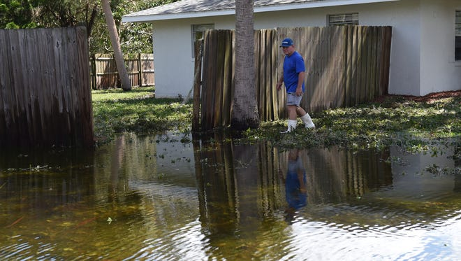 Flooding and damage after Hurricane Irma on Sept. 12, 2017 in Lakewood Park in St. Lucie County.