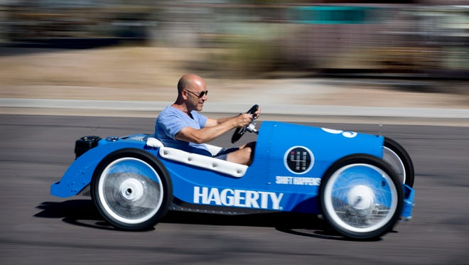 Andrew Bracanovich drives an Italiano kart Sept. 19, 2017, at Vintage Kart Company in Mesa.