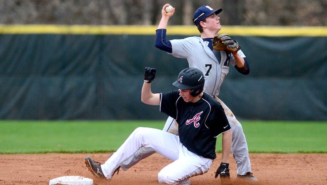 Roberson's Luke Wood turns to attempt a double play as Asheville's Jack Whitehouse is tagged out sliding into second base during their game at Asheville High School on Wednesday, Feb. 28, 2018. The Cougars defeated the Rams 6-5 in five innings. The game was called due to darkness.