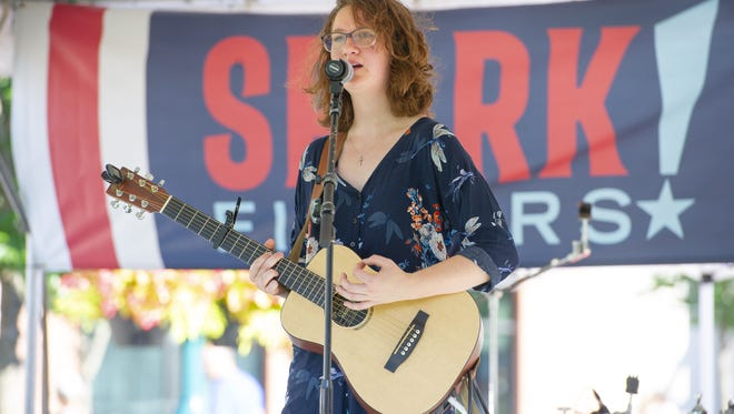 Kacie Swierk performs on stage during the event. The City of Fishers hosted Spark!Fishers, an inaugural, weekend-long celebration in the city's Nickel Plate District, Saturday, June 30, 2018,