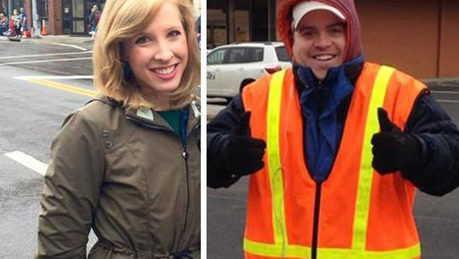 This undated composite photograph made available by WDBJ-TV shows reporter Alison Parker, left, and cameraman Adam Ward. Parker and Ward were fatally shot during an on-air interview, Wednesday, Aug. 26, 2015, in Moneta, Va. Authorities identified the suspect as fellow journalist Vester Lee Flanagan II, who appeared on WDBJ-TV as Bryce Williams. Flanagan was fired from the station in 2013. (Courtesy of WDBJ-TV via AP) MANDATORY CREDIT