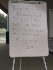 A sign in front of Munson Field at South Burlington High School announces the closure of the field after racist graffiti was found on the turf on Tuesday, June 6, 2017.
