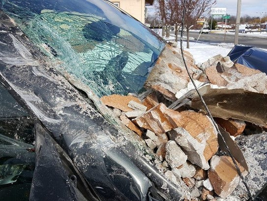 Car Crashes Into Albion School
