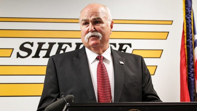 Butler County Sheriff Richard Jones conducts a press conference to discuss an officer-involved shooting Wednesday, June 21, 2017 at the Butler County Sheriff's Office.