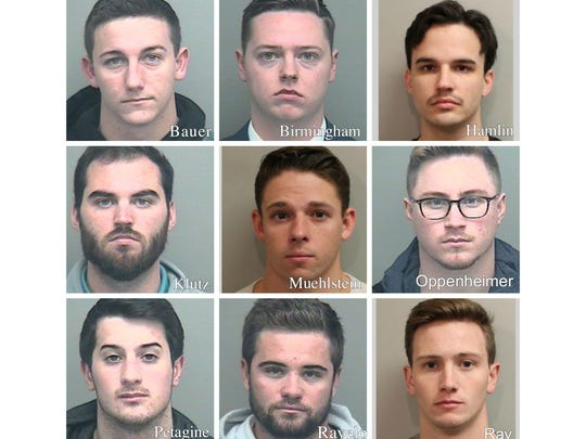 The nine men charged in connection with the hazing death of Andrew Coffey. (Top from left to right) Kyle Bauer, Brett Birmingham, Christopher Hamlin. (Middle from left to right)  Luke Klutz. Clayton Muehlstein, Anthony Oppenheimer. (Bottom from left to right) Anthony Petagine, Conner Ravelo, John Ray.