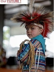 DeJay Chesser, a 5-year-old grass dancer at the Thunder on the Beach Powwow.