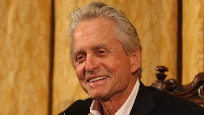 Actor Michael Douglas talks about his career as an actor and producer during a press conference at the George Eastman House in Rochester in 2015. Douglas received the 69th George Eastman Award.