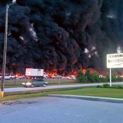 Fire resulting from 10 vehicle wreck involving tanker
