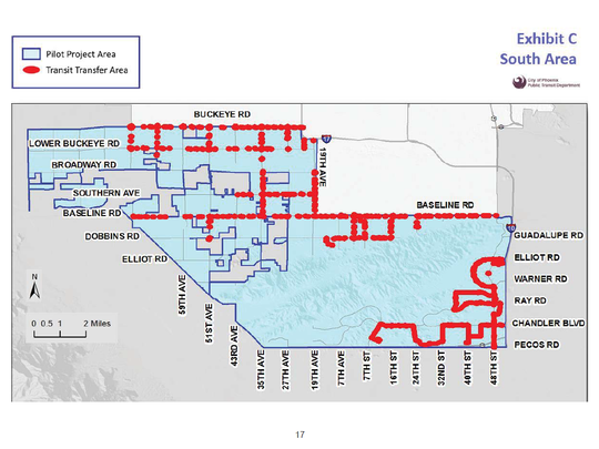 A map shows the locations of Phoenix bus stops south