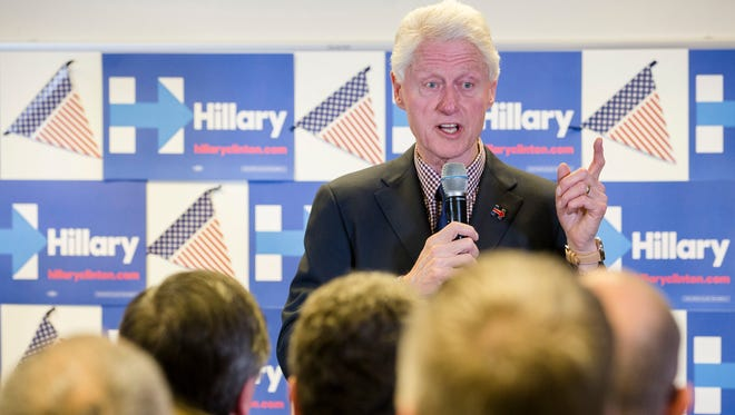 Former President Bill Clinton speaks to members of the Ohio Education Association Wednesday in Columbus, Ohio, as he campaigns for his wife, Democratic presidential candidate Hillary Clinton.