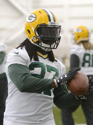 Green Bay Packers running back Eddie Lacy grabs a pass during practice in the Don Hutson Center, Wednesday, January 14, 2015. H. Marc Larson/Press-Gazette Media/@HMarcLarson