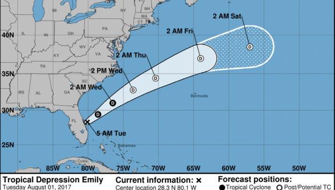 Forecast of Tropical Depression Emily as of 7:30 a.m. Tuesday, Aug. 1, 2017.
