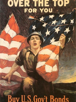 """""""Over the Top for You"""" by Sidney H. Riesenberg, published by Ketterlinus in 1918, is one of the posters featured in the """"World War I: Lessons and Legacies"""" exhibition opening Thursday at the Farmington Museum at Gateway Park."""
