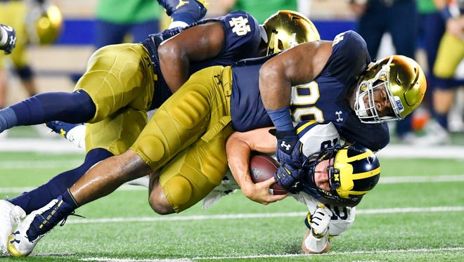 Irish defensive lineman Jerry Tillery (99) has been a force the past two seasons.