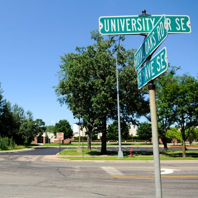 The pedestrian intersection on Highway 23 and 12th Avenue South on Monday, July 25, 2016, in St. Cloud. The city plans to install a similar crosswalk at the intersection of University Drive and 13th Avenue Southeast.