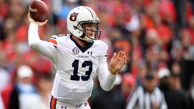 Nov 12, 2016; Athens, GA, USA; Auburn Tigers quarterback Sean White (13) passes against the Georgia Bulldogs during the first quarter at Sanford Stadium. Mandatory Credit: Dale Zanine-USA TODAY Sports
