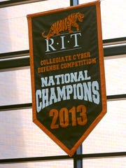 Banners fly in Rochester Institute of Technology building