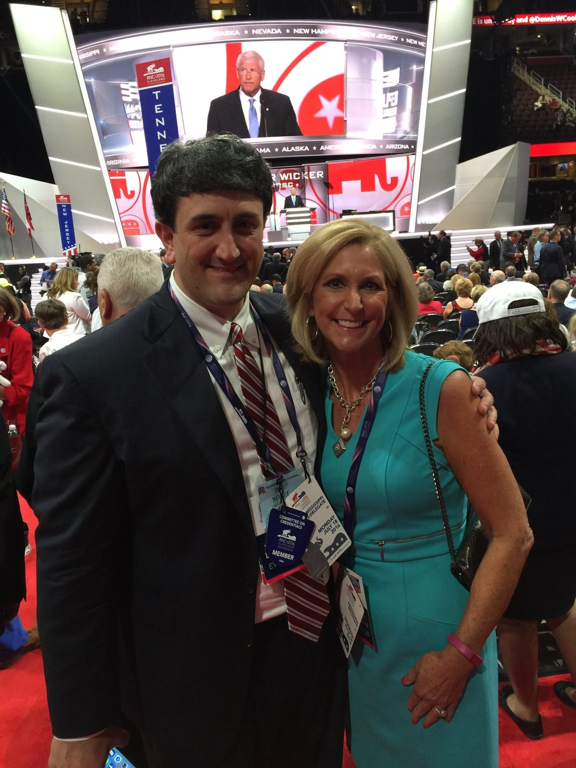 Joe Nosef and Lynn Fitch on the convention floor Monday