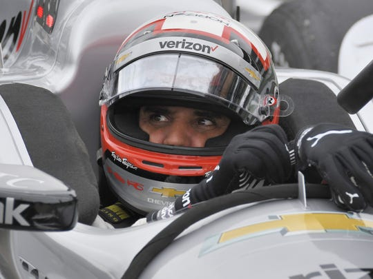 Juan Pablo Montoya prepares for the second Angie's List Grand Prix practice at the Indianapolis Motor Speedway on May 12, 2016