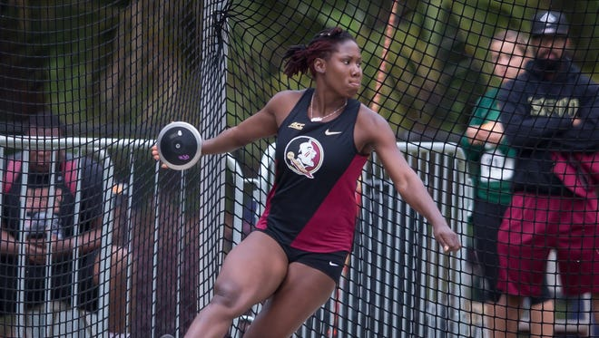 Kellion Knibb competes at the 2016 Seminole Invitational at Mike Long Track.