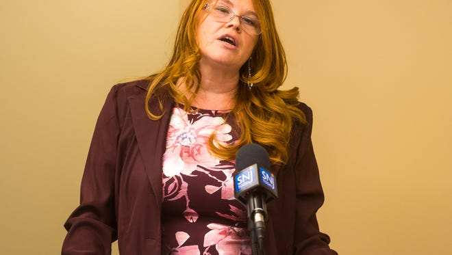Darla DeLeon of Cumberland C.A.R.E.S., speaks during the launch presser for Cumberland C.A.R.E.S. (Compassionate Addiction Recovery Equals Success) Peer Recovery Coach Law Enforcement Initiative on Monday. DeLeon is its coordinator. The conference was at the Cumberland County Prosecutor's Office.