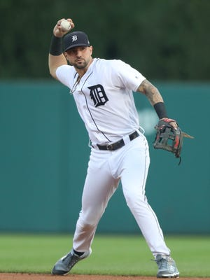 Tigers third baseman Nick Castellanos throws out the Twins rightfielder Max Kepler during the first inning on Friday, Aug. 11, 2017, at Comerica Park.