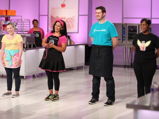 """Indio's Angela Cabanyog (second from left) in a scene during Food Network's """"Cake Wars"""" that aired Jan. 16.  She came in second place."""