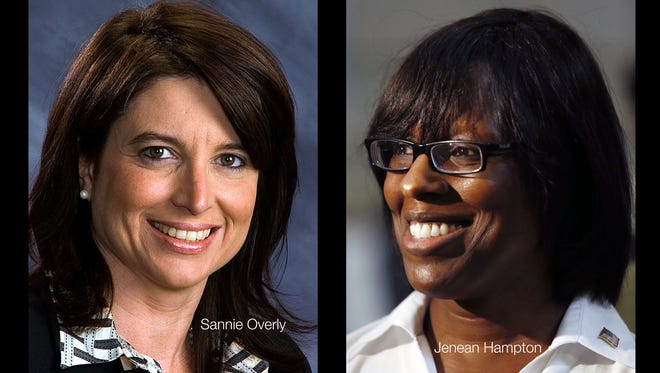 Composite photo of Rep. Sannie Overly, D-Paris, and Jenean Hampton, R-Bowling Green, who are running for lieutenant governor.