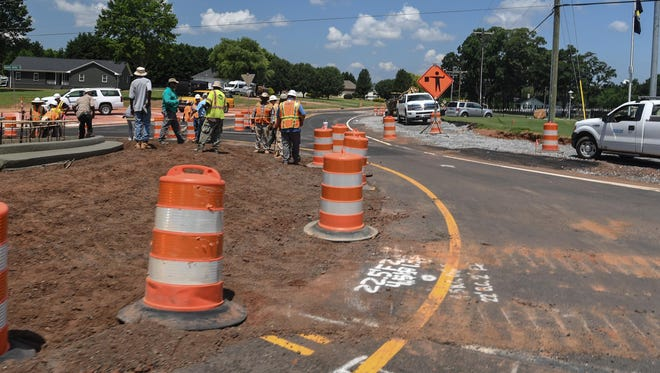 The first roundabout in Anderson along Concord Road near Harris Bridge Road is finishing up this summer in Anderson.