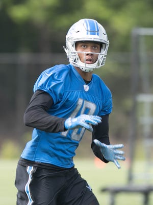 Lions rookie receiver Kenny Golladay goes through drills during OTAs on Wednesday, May 24, 2017 at the Allen Park practice facility.