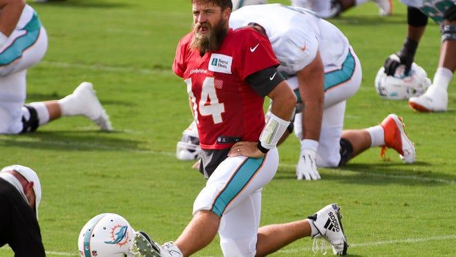 Dolphins quarterback Ryan Fitzpatrick left Hard Rock Stadium before Saturday's scrimmage.