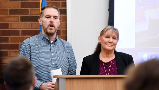 Sioux Falls city counselors Theresa Stehly (right) and Pat Starr (left) speak at a press conference on Wednesday, Dec. 27, 2017, where the pair announced an effort to delay construction of a downtown parking ramp. The effort was spurred by the revelation that a construction company tied to the project is under federal criminal investigation.