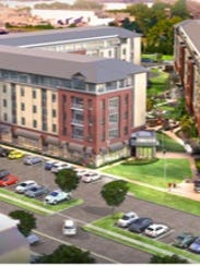 This rendering by the developer shows a proposed residential and commercial development at 115 Belmont Ave. in Belleville, the location of Super Fresh Food World.