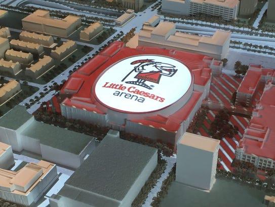 A model of Little Caesars Arena.