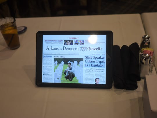 A 12.9-inch-wide Apple iPad displaying Thursday's edition