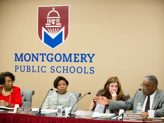 Montgomery School Board chairman Robert Porterfield speaks during a Montgomery School Board Meeting on Thursday, Jan. 5, 2017, in Montgomery, Ala.