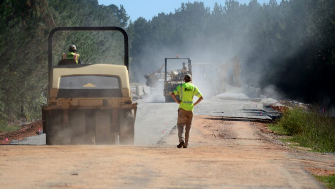 The section of Mississippi 589 near Burnt Bridge Road is expected to open to traffic in three or four weeks. The road was damaged by flooding in March.