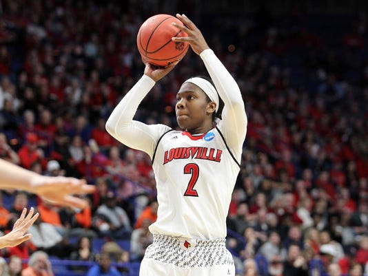 Louisville's Myisha Hines-Allen takes an open shot during the first half of an NCAA women's college basketball tournament regional semifinal against Stanford, Friday, March 23, 2018, in Lexington, Ky. (AP Photo/James Crisp)