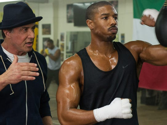 Sylvester Stallone as Rocky Balboa and Michael B. Jordan