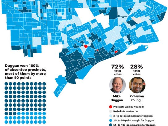 This map shows how many precincts incumbent Mayor Mike