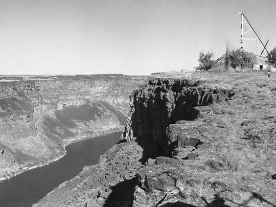This Sept. 6, 1974, file photo shows the ramp that will be used when Evel Kneivel tries to jump the Snake River Canyon in Twin Falls, Idaho. Fueled by the memory of the late daredevil Knievel, Hollywood stuntman Eddie Braun plans to strap into a steam-powered rocket cycle on Sept. 17, 2016, for his most death-defying role yet. (AP Photo, File)